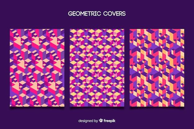 Zestaw okładek z kolorowym wzorem geometrycznym Darmowych Wektorów