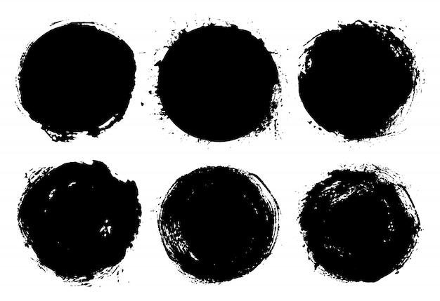 Zestaw Okrągłe Ramki Grunge Premium Wektorów