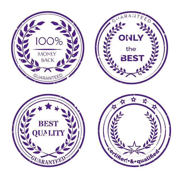 Zestaw Okrągłych Etykiet Gwarancyjnych Darmowych Wektorów