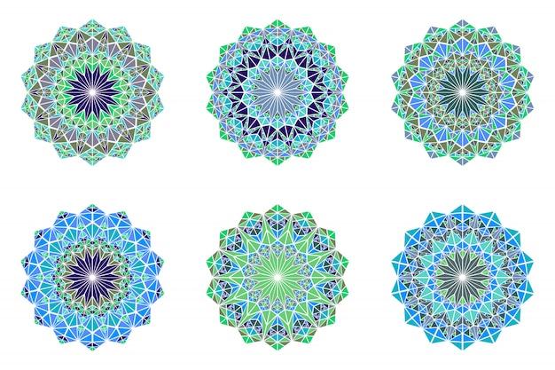 Zestaw Okrągłych Kolorowych Mandali Logo - Wielokątne Ozdobne Elementy Wektorowe Premium Wektorów