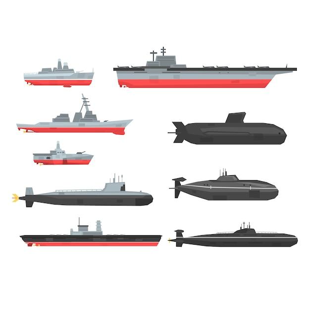 Zestaw Okrętów Bojowych Marynarki Wojennej, łodzie Wojskowe, Statki, Okręt Podwodny Ilustracje Na Białym Tle Premium Wektorów