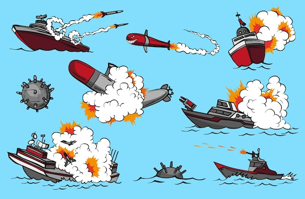 Zestaw Okrętów Wojennych Komiksów Premium Wektorów