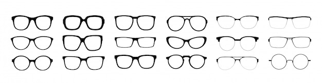 Zestaw Okularów Na Białym Tle. Premium Wektorów