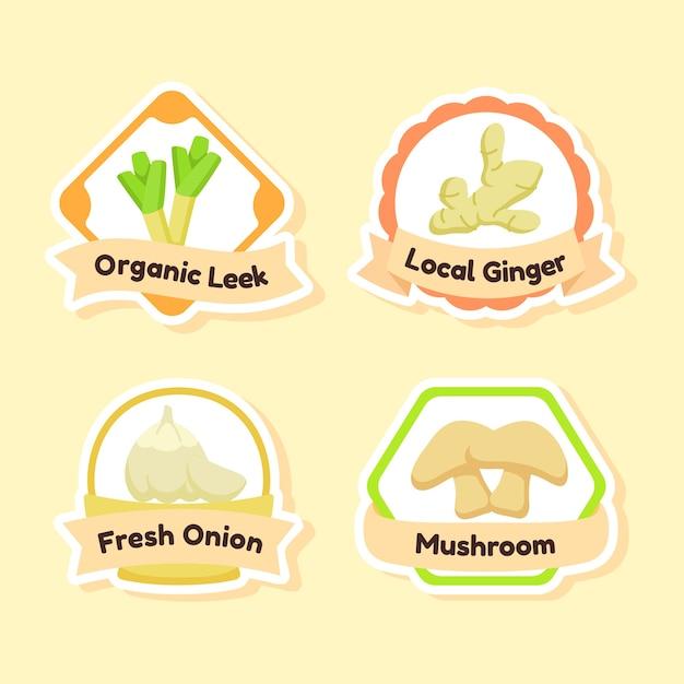 Zestaw Organicznych Ikon świeżych Warzyw Premium Wektorów
