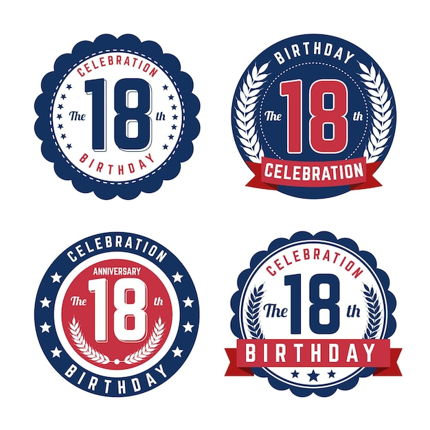 Zestaw Osiemnastych Odznak Urodzinowych Darmowych Wektorów