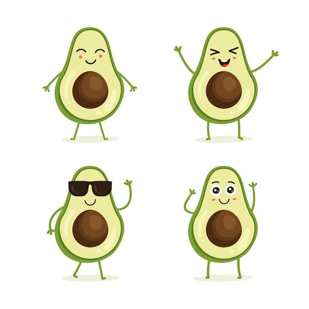 Zestaw owoców awokado w różnych akcji emocji Premium Wektorów