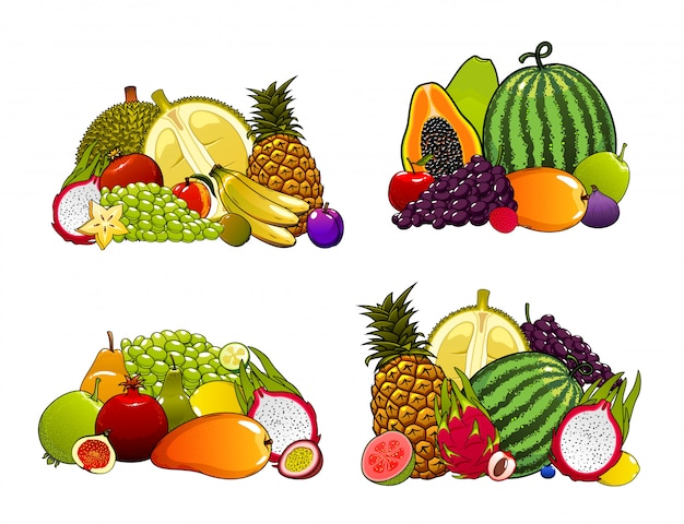 Zestaw Owoców Egzotycznych Farmy Premium Wektorów