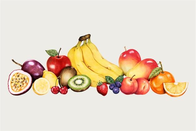 Zestaw Owoców Ekologicznych Darmowych Wektorów