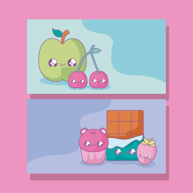 Zestaw owoców i potraw w stylu kawaii Premium Wektorów