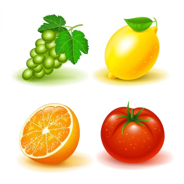 Zestaw owoców i warzyw: winogrona, cytryna, pomarańcza i pomidor. odosobniony Premium Wektorów