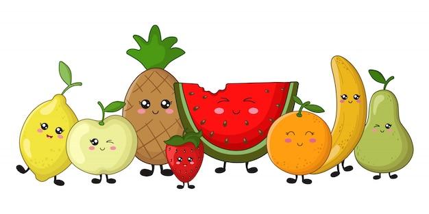 Zestaw owoców kawaii - cytryna, jabłko, ananas, pomarańcza, truskawka Premium Wektorów