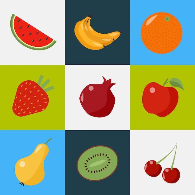 Zestaw Owoców. Zdrowy Styl życia. Arbuz, Banany, Pomarańcza, Truskawka, Granat, Gruszka, Kiwi, Wiśnia Premium Wektorów