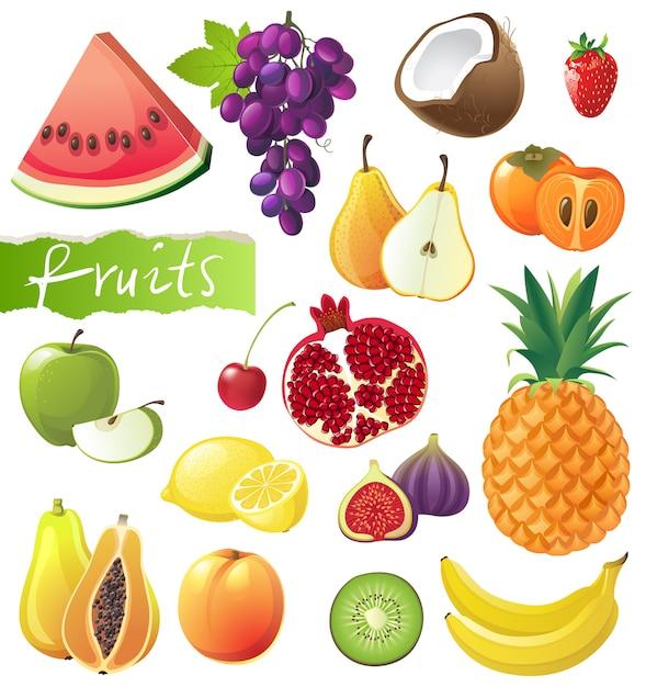 Zestaw owoców Premium Wektorów