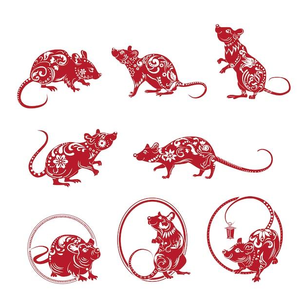 Zestaw ozdobny czerwony szczur Darmowych Wektorów