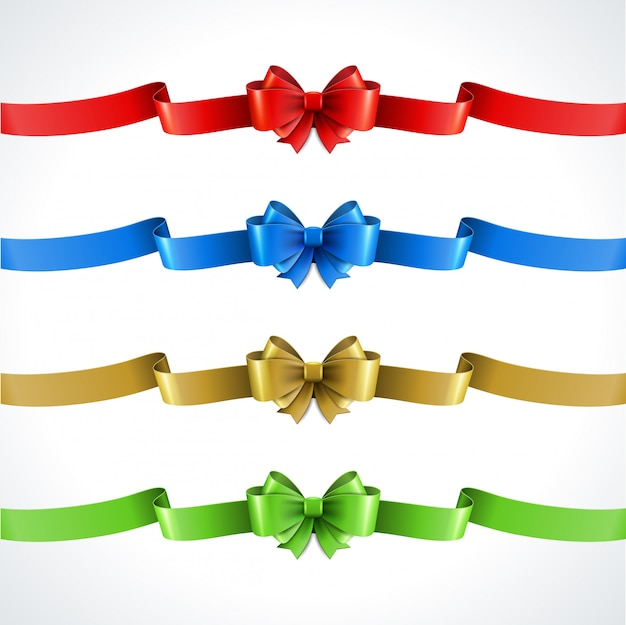 Zestaw ozdobny prezent łuki z wstążkami na białym tle Premium Wektorów