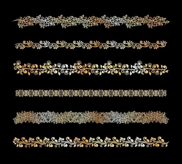 Zestaw Ozdobnych Wektorów Kwiatowych Elementów Obramowania W Kolorze Białym Z Zawiłymi Przewijanymi Kaligraficznymi Kwiatami Winorośli I Liśćmi Z Pięcioma Różnymi Wzorami O Różnych Szerokościach Darmowych Wektorów