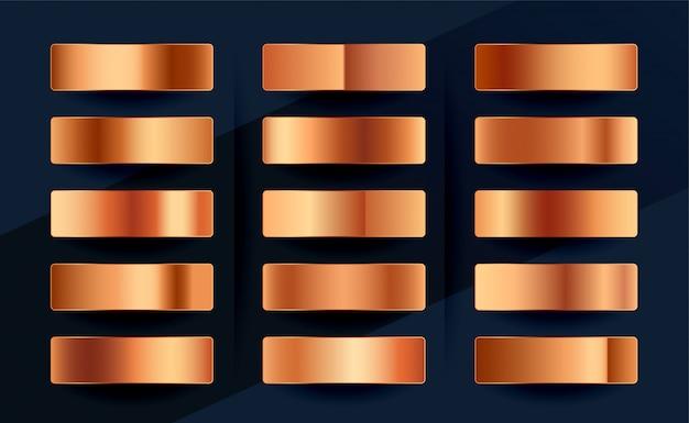 Zestaw Palet Gradientowych Próbek Miedzi Lub Różowego Złota Premium Darmowych Wektorów