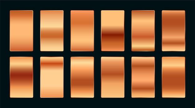 Zestaw Palet Premium Gradientu Próbek Miedzi Lub Różowego Złota Darmowych Wektorów