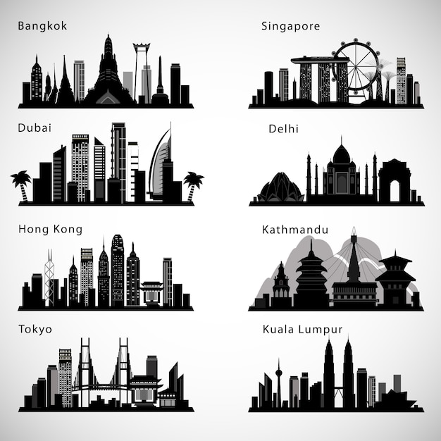 Zestaw Panoramę Azjatyckich Miast. Sylwetki Wektorowe. Premium Wektorów