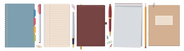 Zestaw Papeterii. Notebooki I Notatniki. Kolekcja Premium Wektorów