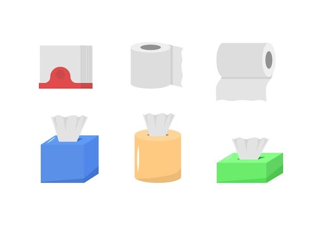 Zestaw Papierowy Materiał Kreskówka, Pudełko Z Rolkami, Użycie Do Toalety, Kuchnia W Płaskiej Konstrukcji Produkt Papierowy Służy Do Celów Sanitarnych. Produkty Higieniczne. Zestaw Ikon Higieny. Premium Wektorów