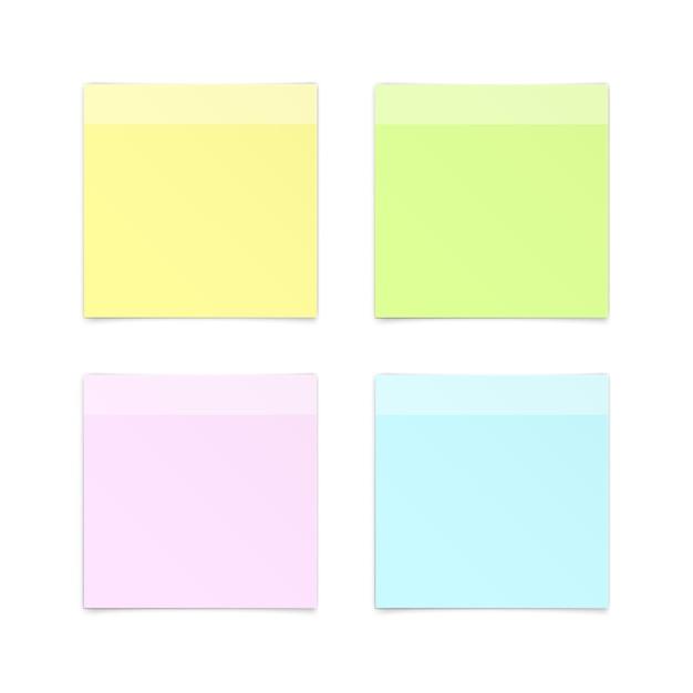 Zestaw Papierowych Naklejek Sticky Note Post Memo Label Na Białym Tle Premium Wektorów