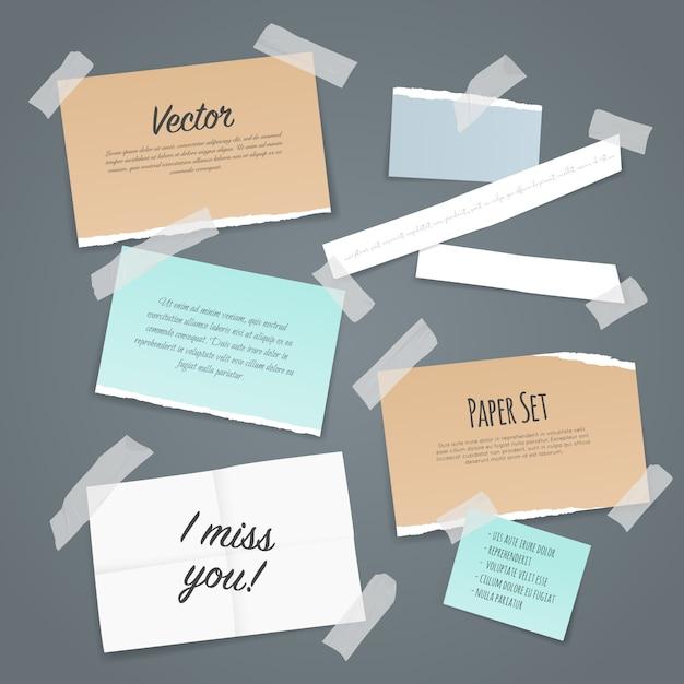 Zestaw papierowych taśm samoprzylepnych Darmowych Wektorów