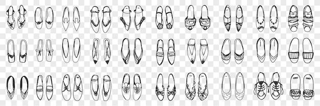 Zestaw Par Kobiecych Butów Doodle. Kolekcja Ręcznie Rysowane Stylowe Eleganckie Buty Sandały I Trampki Stojące W Rzędach Na Białym Tle. Premium Wektorów