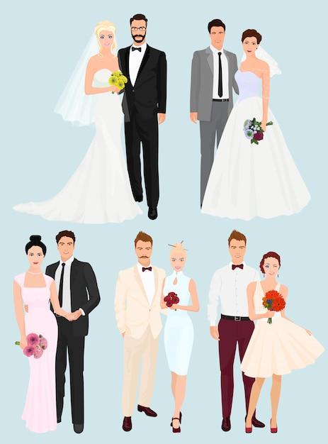 Zestaw par ślubnych Premium Wektorów