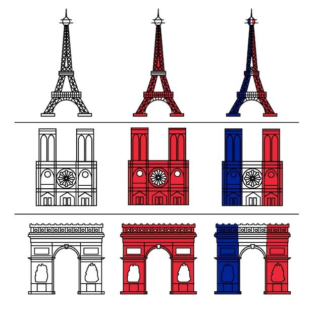 Zestaw paris monuments Premium Wektorów