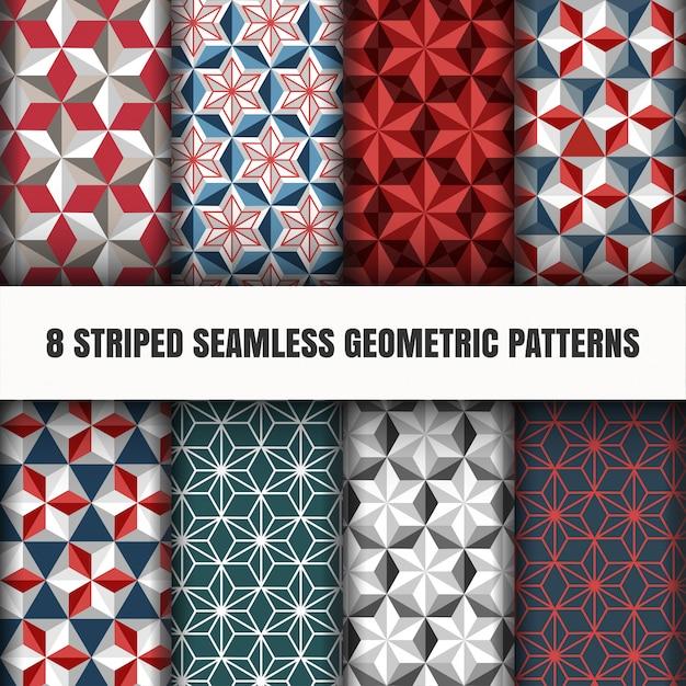 Zestaw pasiasty bez szwu wzorów geometrycznych Darmowych Wektorów
