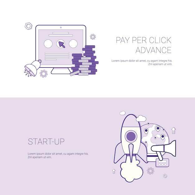 Zestaw pay per click i uruchamiania banerów business concept szablon tło z miejsca na kopię Premium Wektorów