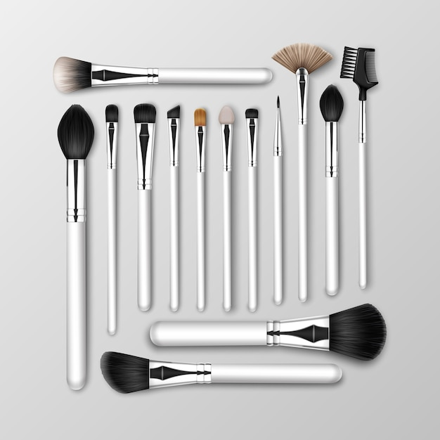Zestaw Pędzli Do Brwi W Pudrze Black Clean Professional Makeup Concealer Powder Blush Eye Shadow Brow Premium Wektorów