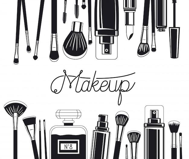 Zestaw pędzli do makijażu i ramki produktów Darmowych Wektorów