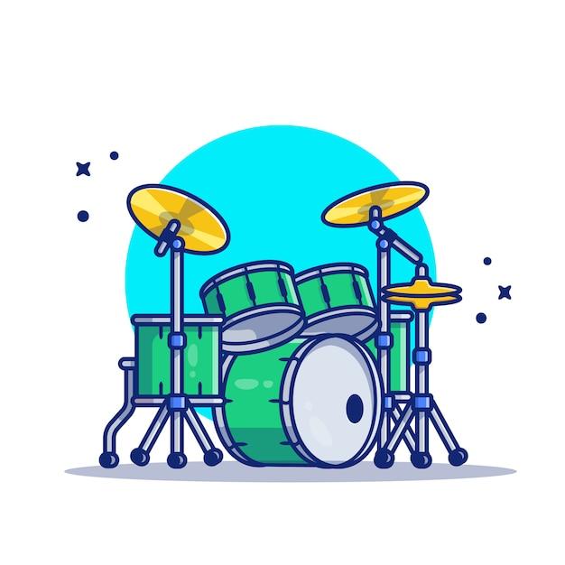 Zestaw Perkusyjny Muzyki Ikona Ilustracja Kreskówka. Koncepcja Ikona Instrument Muzyczny Białym Tle Premium. Płaski Styl Kreskówki Premium Wektorów