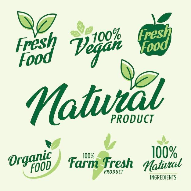 Zestaw Pieczęci Na Ekologiczny I Naturalny Produkt Premium Wektorów
