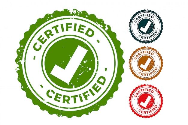 Zestaw Pieczęci Z Certyfikowanym I Zatwierdzonym Stemplem Darmowych Wektorów