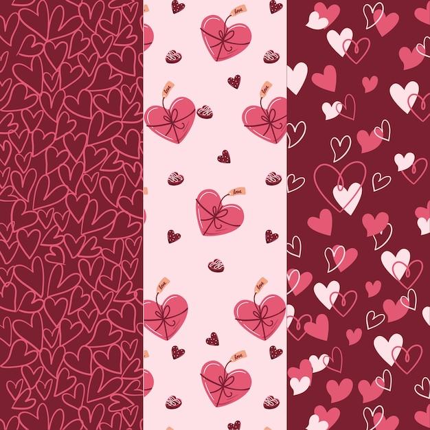 Zestaw Piękny Wzór Walentynki Darmowych Wektorów