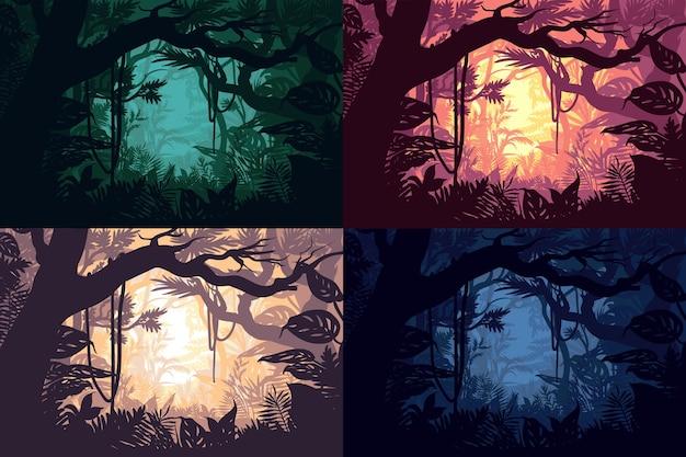 Zestaw Pięknych Krajobrazów Dżungli Darmowych Wektorów