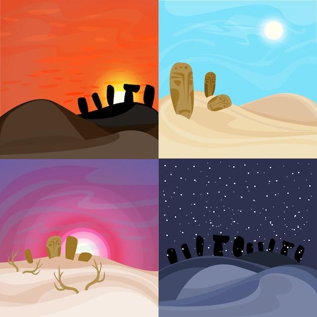 Zestaw Pięknych Pustynnych Krajobrazów Darmowych Wektorów