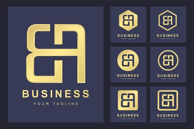 Zestaw Pierwszej Litery B, Złoty Szablon Logo. Premium Wektorów