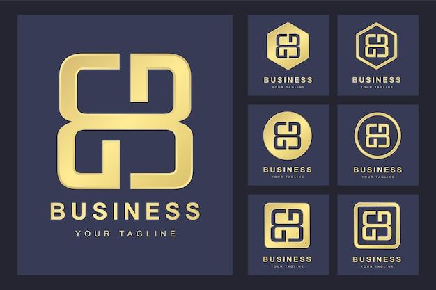 Zestaw Pierwszej Litery Bb, Złoty Szablon Logo. Premium Wektorów