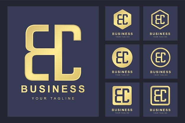 Zestaw Pierwszej Litery Bc, Złoty Szablon Logo. Premium Wektorów