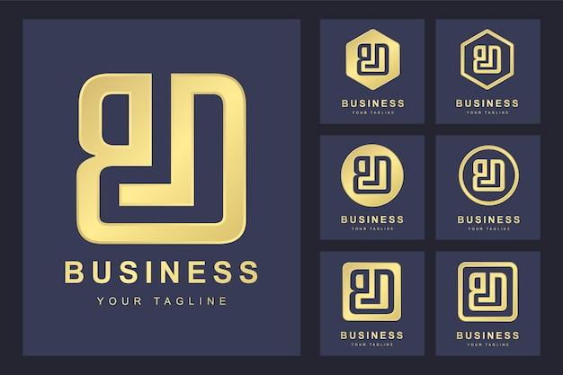 Zestaw Pierwszej Litery Bd, Złoty Szablon Logo. Premium Wektorów