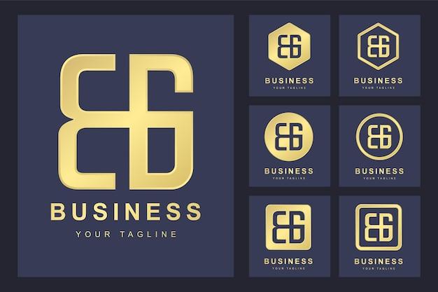Zestaw Pierwszej Litery Bg, Szablon Logo Złoty. Premium Wektorów