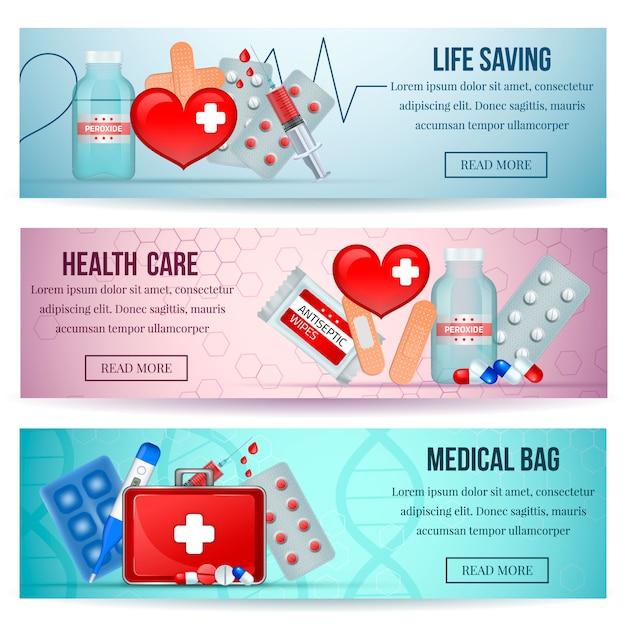 Zestaw Pierwszej Pomocy Poziome Realistyczne Banery Na Stronie Służby Zdrowia Z Zaopatrzeniem Medycznym Darmowych Wektorów