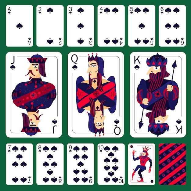 Zestaw pik kart do gry w pokera Darmowych Wektorów