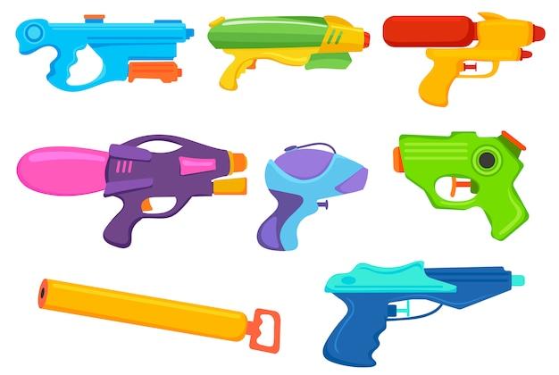 Zestaw Pistoletów Wodnych. Kolekcja Kreskówki Plastikowego Pistoletu Na Wodę, Sprayu Do Gry Itp. Premium Wektorów