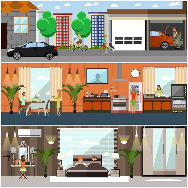 Zestaw plakatów domowych, banery w stylu płaski Premium Wektorów