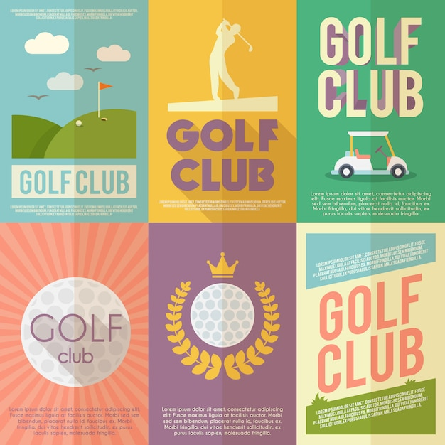 Zestaw plakatów golfowych Darmowych Wektorów